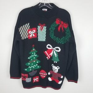 Vintage Christmas Crewneck Knitted Sweater Medium
